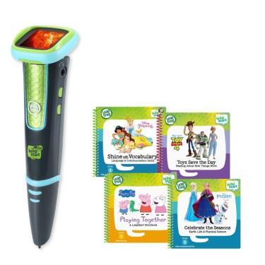 LeapFrog 迪士尼全英文點讀學習系列 點讀Go學習筆(綠色)+迪士尼學習組4本(佩佩豬、玩具總動員、冰雪奇緣、公主養成記)-廠送