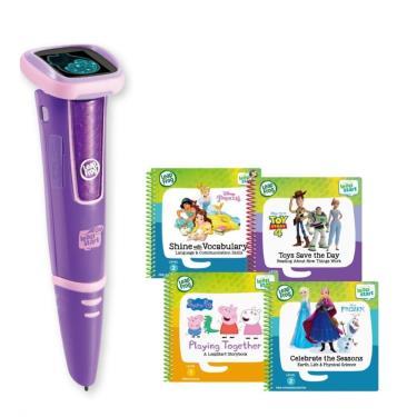 LeapFrog 迪士尼全英文點讀學習系列 點讀Go學習筆(紫色)+迪士尼學習組4本(佩佩豬、玩具總動員、冰雪奇緣、公主養成記)-廠送