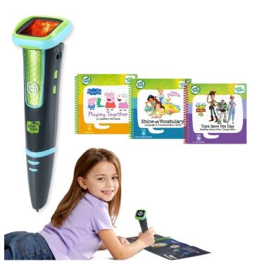 LeapFrog 迪士尼全英文幼童點讀學習系列 點讀Go學習筆(綠色)+迪士尼學習組3本(佩佩豬、玩具總動員、迪士尼公主養成記)-廠送