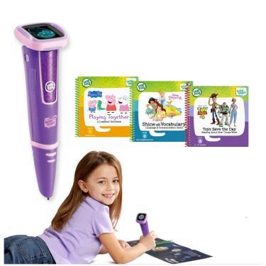 LeapFrog 迪士尼全英文幼童點讀學習系列 點讀Go學習筆(紫色)+迪士尼學習組3本(佩佩豬、玩具總動員、迪士尼公主養成記)-廠送