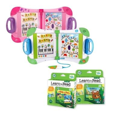 LeapFrog 全英幼童行動學習機 (粉) +行動閱讀1+2套組(共12本)-廠送