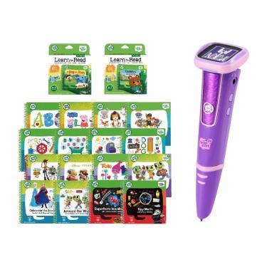 LeapFrog LeapStartR Go 點讀Go學習筆(粉色)+啟蒙學習34本(幼兒2-3、5-15+兒童1、3-10+行動1+行動2)-廠送
