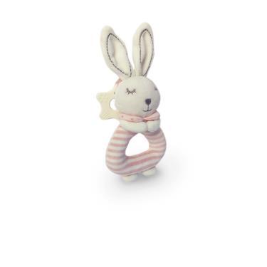 Ocean Baby可愛動物安撫搖鈴-粉條紋白兔-廠