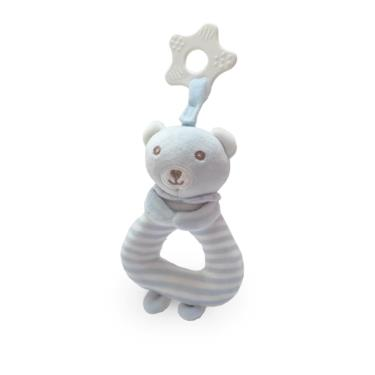 Ocean Baby可愛動物安撫搖鈴-灰藍條紋小熊-廠