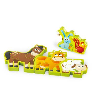 Hape 愛傑卡 農場動物遊行木製數字拼圖 10件組(廠)