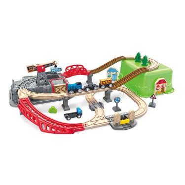 Hape 愛傑卡 建築家木製軌道玩具組 附收納箱 (廠)