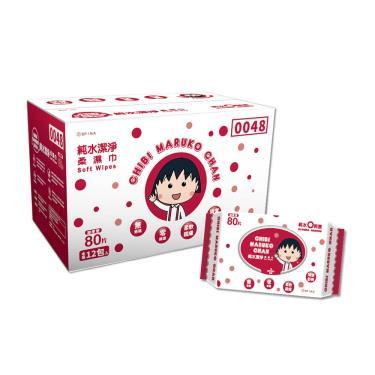 櫻桃小丸子 純水潔淨柔濕紙巾/濕巾(加蓋)80抽x12包/箱-廠送