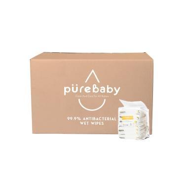 YOME  PureBaby 99.9% 抗菌濕巾 10抽x128包(單箱包裝)-廠送