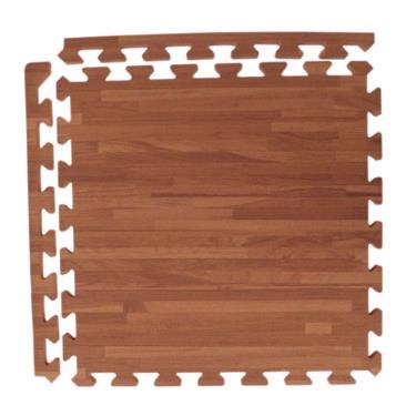 新生活家 EVA耐磨拼花木紋附收邊深色45x45x1.2cm 12入 廠送