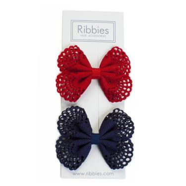 英國Ribbies典雅洞洞蝴蝶結(海軍藍/紅)-廠