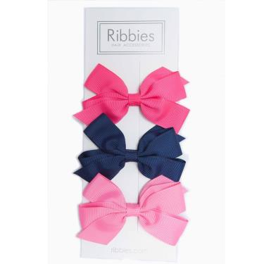 英國Ribbies經典中蝴蝶結3入組(粉紅/海軍藍)-廠