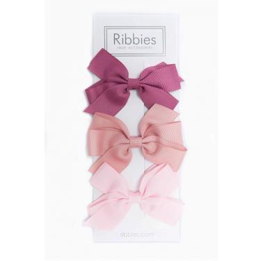 英國Ribbies經典中蝴蝶結3入組(玫瑰粉系列)-廠
