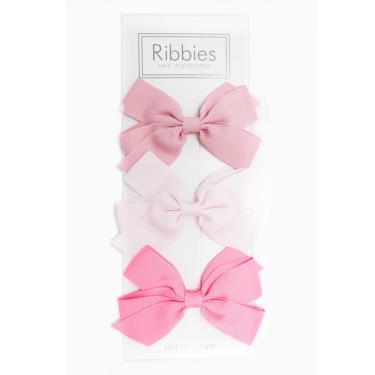 英國Ribbies經典中蝴蝶蝶結3入組(粉紅系列)-廠