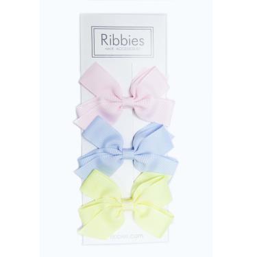 英國Ribbies經典中蝴蝶蝶結3入組(粉嫩系列)-廠