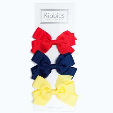 英國Ribbies經典中蝴蝶蝶結3入組(亮彩系列)-廠