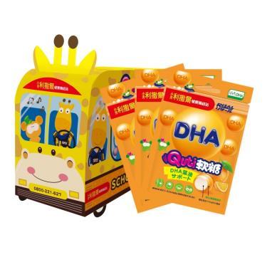 小兒利撒爾 Quti軟糖 長頸鹿校車禮盒-藻油DHA 12包入
