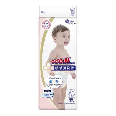 日本大王 敏感肌設計黏貼型紙尿褲/尿布XL168片(42片x4包) 箱購 (廠)
