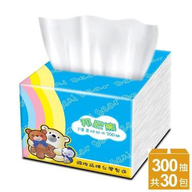 BeniBear邦尼熊 抽取式柔式紙巾300抽x30包/箱(彩虹版)-廠送