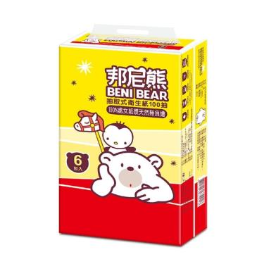 BeniBear邦尼熊 抽取式衛生紙100抽6包10袋-廠送