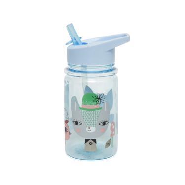 荷蘭Petit Monkey 兒童水杯400(ml)-粉藍草尼馬與好朋友-廠