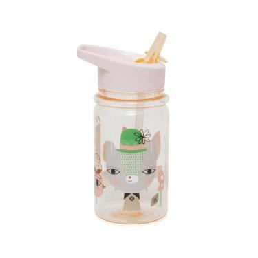 荷蘭Petit Monkey 兒童水杯400(ml)-粉紅草尼馬與好朋友-廠