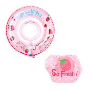 英國 Swimava G1+ S1紅莓嬰兒游泳脖圈/泳褲套裝組-廠