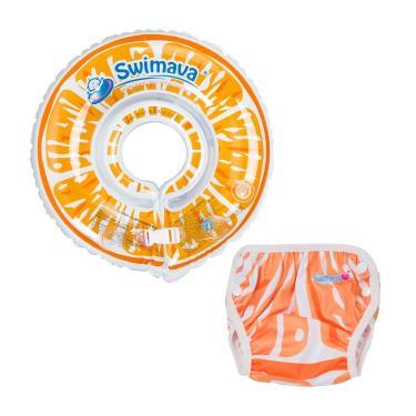 英國 Swimava G1+ S1鮮橙嬰兒游泳脖圈/泳褲套裝組-廠