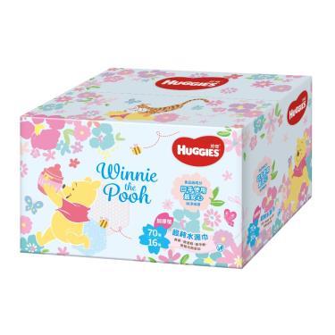 (滿額折/兩箱送)好奇 純水嬰兒濕巾加厚型(小熊維尼限定版)70抽x16包/箱 活動至09/30?