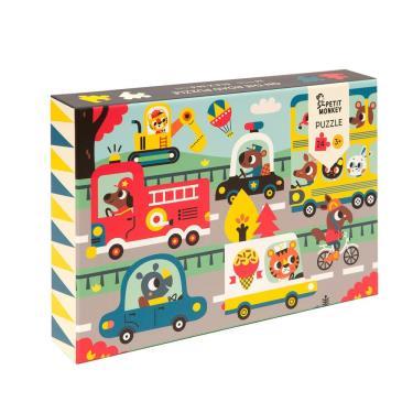荷蘭Petit Monkey歡樂汽車道路拼圖(24片/3Y+)-廠