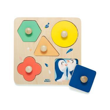 荷蘭Petit Monkey經典木玩-動物園幾何形狀拼圖(1Y+)-廠