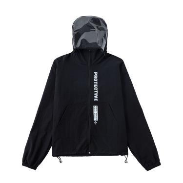 防飛沫防疫外套 成人款 黑色 (S號) 可拆式面罩 阻擋飛沫 防潑水