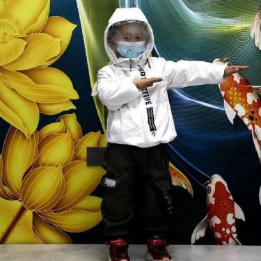 防飛沫防疫外套 兒童款 白色 適用130cm 可拆式面罩 阻擋飛沫 防潑水