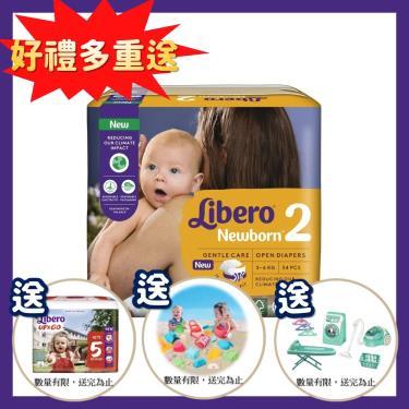 (送玩具2個+褲型1包)麗貝樂 嬰兒黏貼型紙尿褲/尿布 2號(NB34片x6包x2箱)