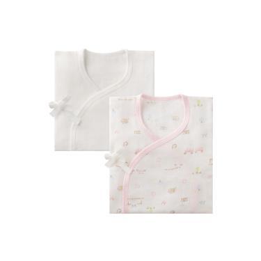 Combi-純棉柔紗-快樂車車 紗布肚衣2入組(粉+素色)(71208)