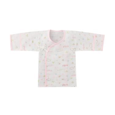Combi-純棉柔紗-快樂車車 反摺護手紗布肚衣-(粉)(71210)