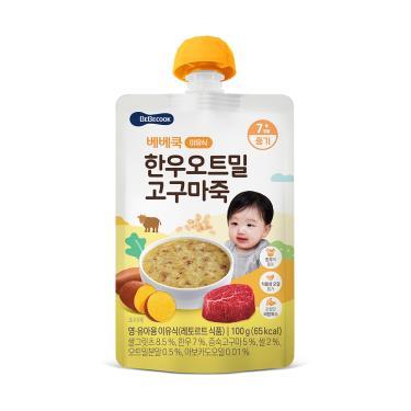 韓國BEBECOOK寶膳 嬰幼兒韓牛地瓜燕麥粥 100g