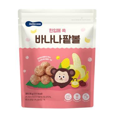 韓國BEBECOOK寶膳 嬰幼兒玉米球 香蕉紅豆 25g/包