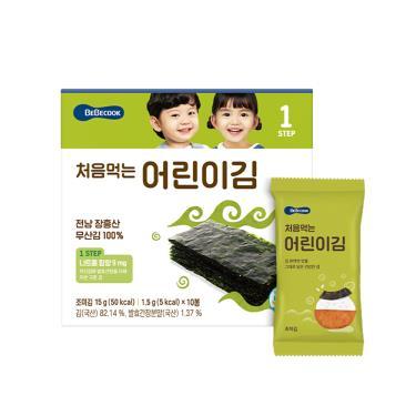 韓國BEBECOOK寶膳 幼兒原味海苔 10包/盒(15g)