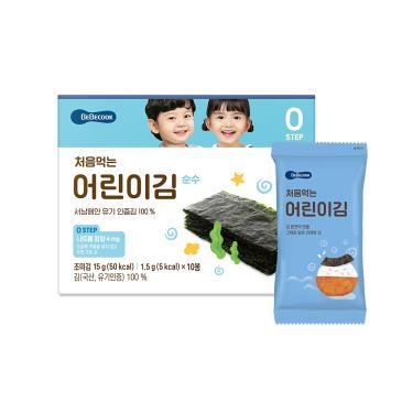 韓國BEBECOOK寶膳 嬰幼兒純粹海苔 10包/盒(15g)