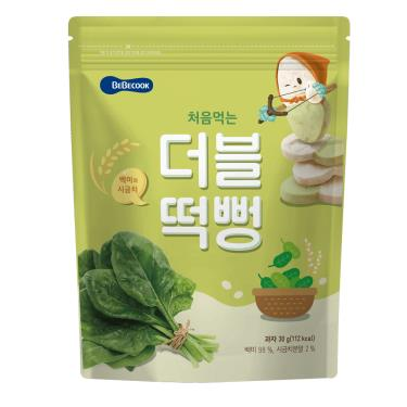 韓國BEBECOOK寶膳 嬰幼兒雙色初食綿綿米餅 白米菠菜 30g