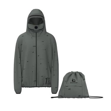 isocover聚陽 專利可拆式面罩生活防護外套(L)莫蘭迪綠 可收納
