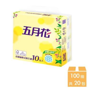 五月花 花園版抽取式衛生紙100抽x10包x2袋/組-廠送