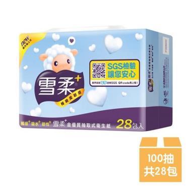 雪柔 金優質抽取衛生紙100抽x28包/組-廠送