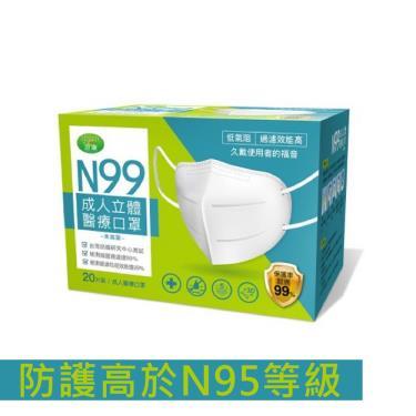 Green澄康 N99成人立體醫療口罩 低氣阻 過濾效能高 單片包裝 (20入/盒)